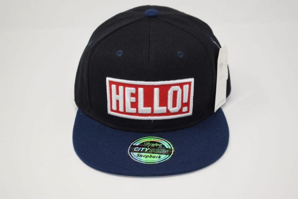 C4891, 'HELLO' Black/Navy  City Gange Snapback Caps  fits all sizes, 20% cotton and 80% polyester